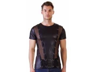 Opruiming: Heren wetlook shirt met doorschijnende stof