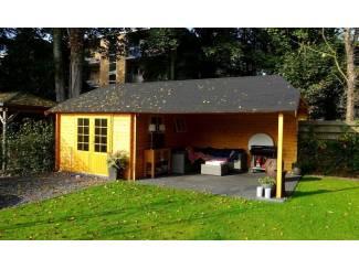 Tuinhuisjes en Meubelen Tuinhuis-Blokhut W4X3+4: 410 x 310/716 x 302 cm