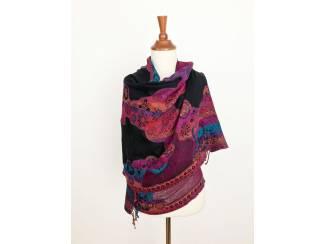 Handgeweven wollen sjaal uit India