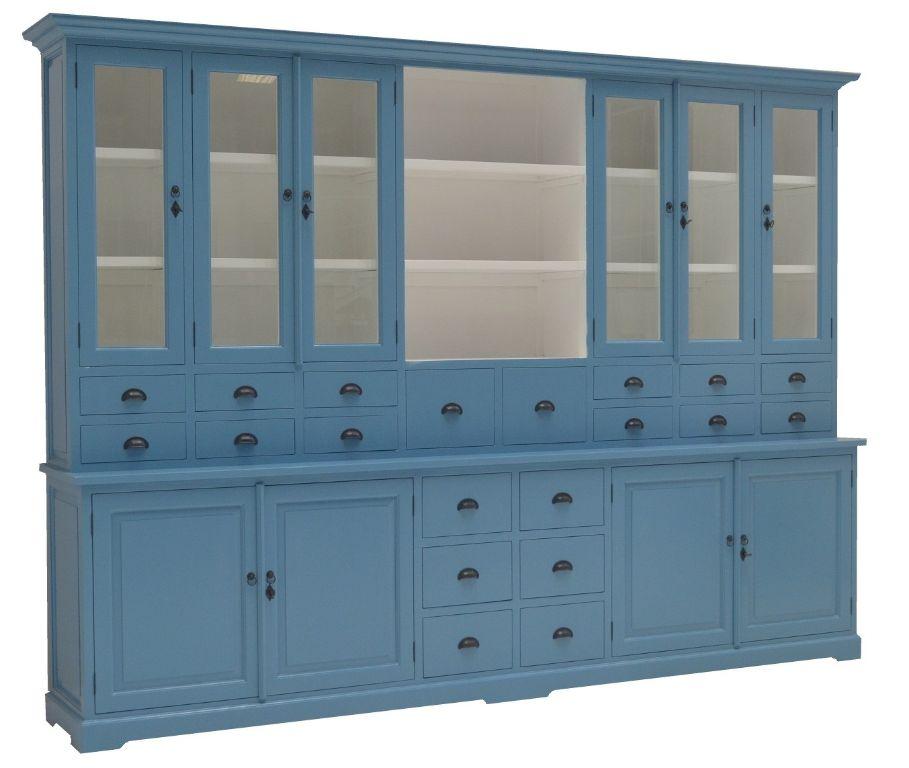 Buffetkast met 20 laden en open vak oud blauw 300 x 220