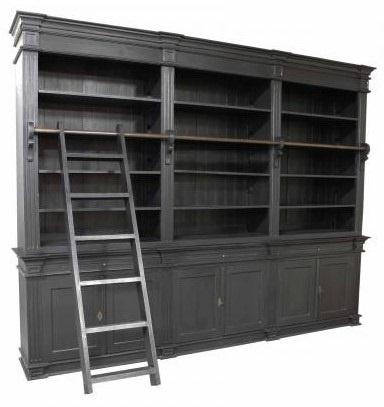 Boekenkast Wageningen zwart - zwart 300 x 50/40 x 240