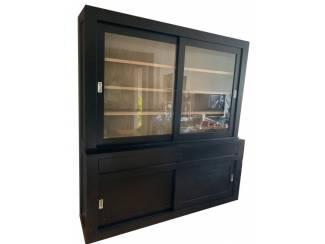 Buffetkast Design zwart met eiken interieur 200 x 220cm