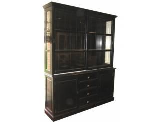 Zwarte buffetkast 200 x 50/x40 220cm zwarte binnenkant
