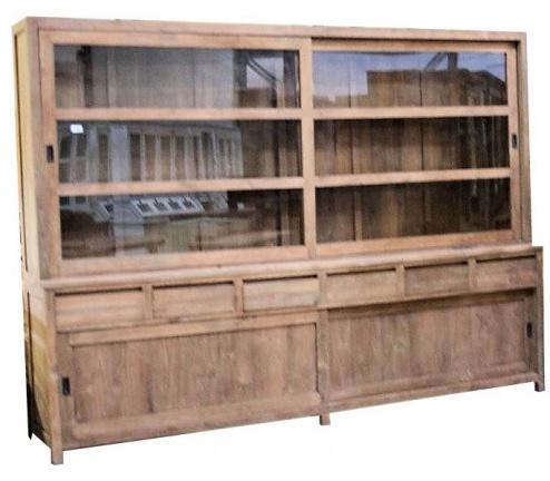 Moderne strakke 300cm breed teak buffetkast greeploos kasten en dressoirs - Moderne keukenkast ...