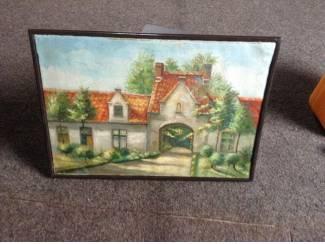 Kunst   Schilderijen Schilderij van een zicht uit Brugge,meer dan70 jaar oud