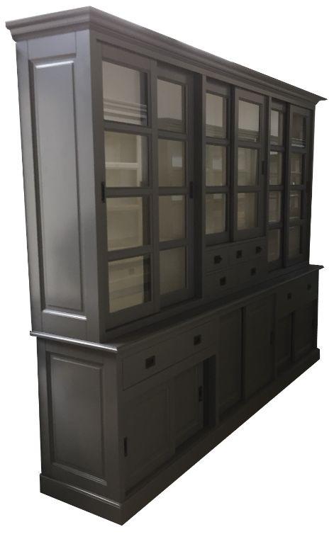 Landelijke buffetkast grijs - wit soft close laden 285 x 235