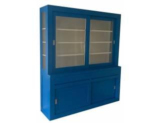 Buffetkast Petten hemelsblauw - wit 220 x 50/40 x 220cm
