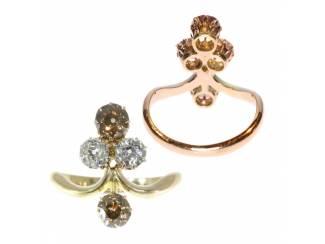 Victoriaanse verlovingsring goud met diamant