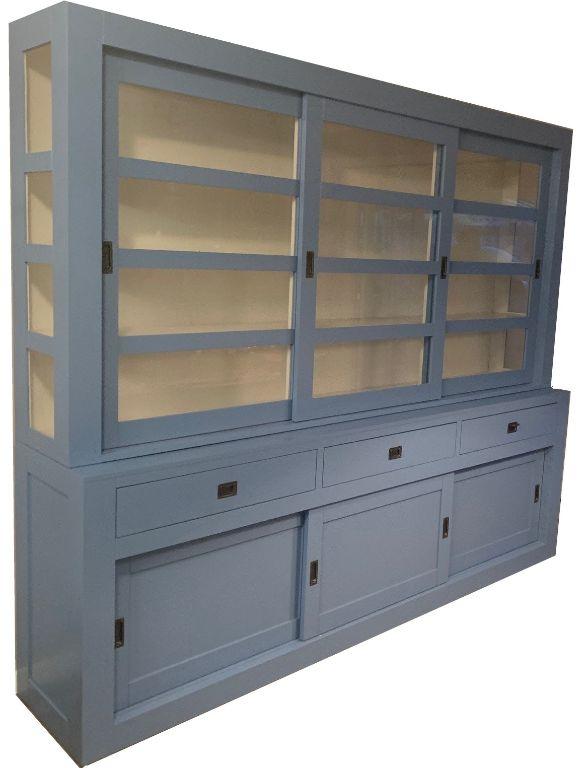 Buffetkast oud blauw ? wit Hasselt 300 x 50/40 x 220cm