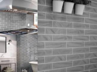Muis grijze glanzende handvorm tegels 7,5x30 cm online kopen