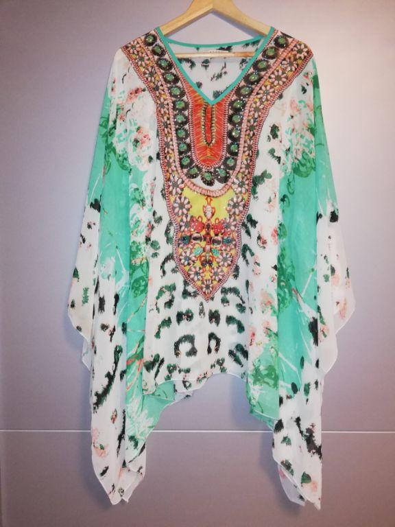 dames jurk vleermuis mouwen panter groen bling bling maat L