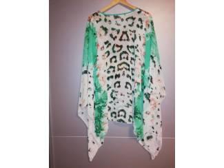 Kleding dames jurk vleermuis mouwen panter groen bling bling maat L