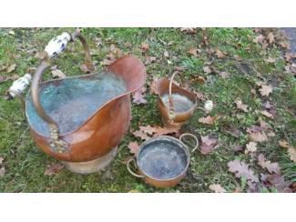 Brocante: koperen potten