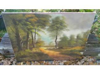 Schilderij 80x60, Bospad, hekje, Vennetje, heldere accenten