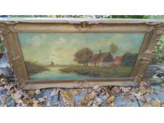 Schilderij 96x58: Boerderij Watertje, molen in de verte