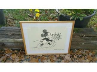 Poster Mickey met glas en lijstje