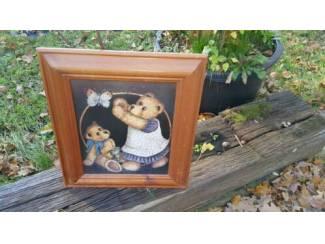 Beren schilderij op hout, faux antiques, 37x43