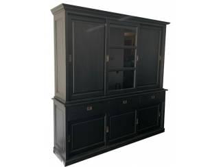Buffetkast handpainted zwart Putten 200 x 220cm dichte zijdeuren