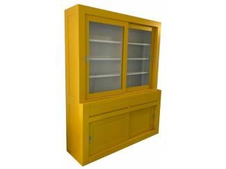 Buffetkast design soft close geel - wit 180 x 50/40 x 220