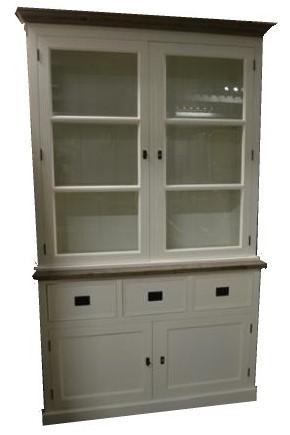 Buffetkast Hengelo wit met houten lijsten 130 x 45 x 210cm