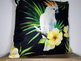 Kussenhoes Tropical Bird   Vogel   Jungle   Bloemen   45 x 45 cm