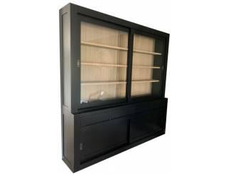 Buffetkast Design zwart met eiken interieur 240 x 50/40 x 240cm