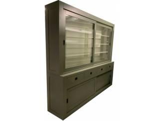 Buffetkast Engels groen - wit Epse 260 x 50/40 x 220cm
