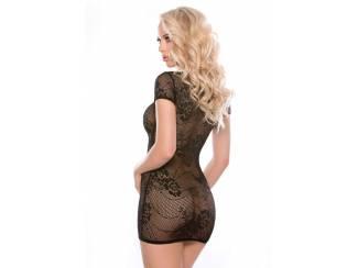 Charli: zwart fishnet jurkje