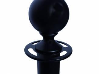 Horeca Afzetpaal met trekband of ronde bol-zwart- goud -chroom