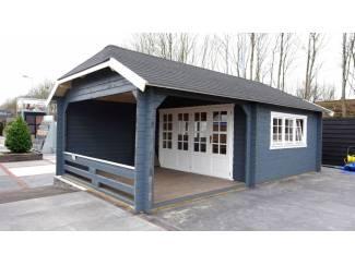 Tuinhuis-Blokhut-Wolfskap: w4x3+3: 410 x 615 x 325 (h)