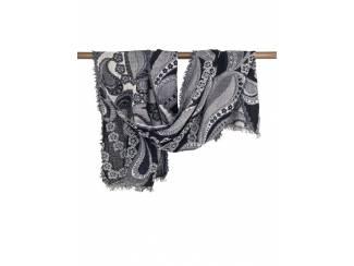 Handgeweven wollen sjaal met bloemmotief uit India