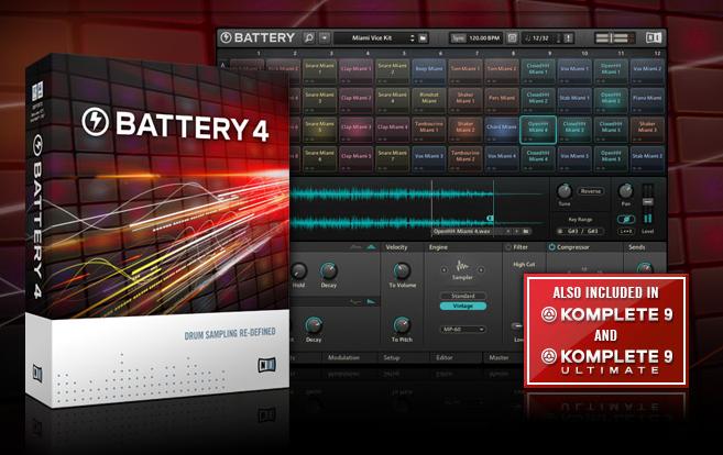 BATTERY 4 Drum Sampler vol met alle Effecten en Instrumenten