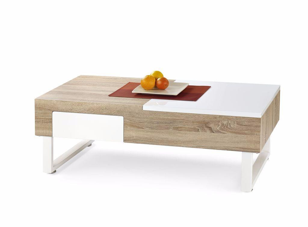 AANBIEDING! Moderne eiken hoogglans witte salontafel NIEUW!